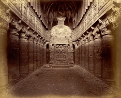 Interior of Buddhist chaitya hall, Cave XXVI, Ajanta